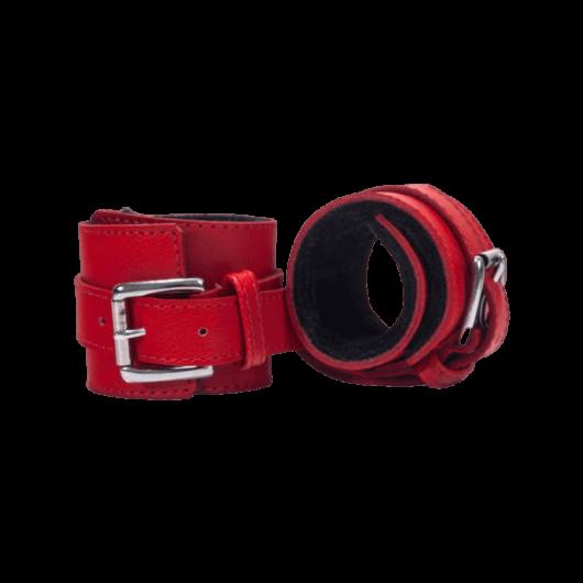 Devil Sticks - bőr bilincs (piros fekete) - minőségi bőrbilincs BDSM játékokhoz