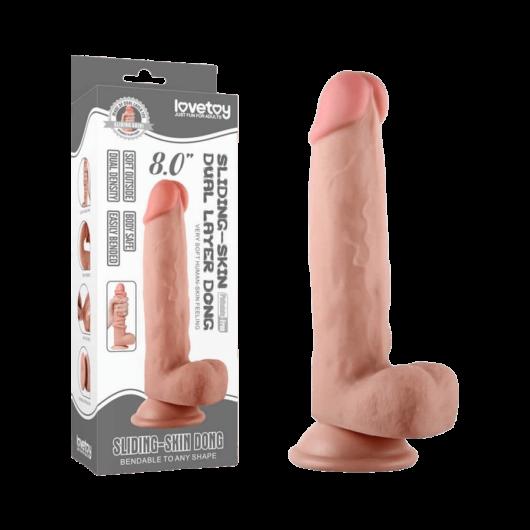 Lovetoy - Sliding Skin Dong 8 inch - hajlítható, bőrszerű, tapadókoronggal